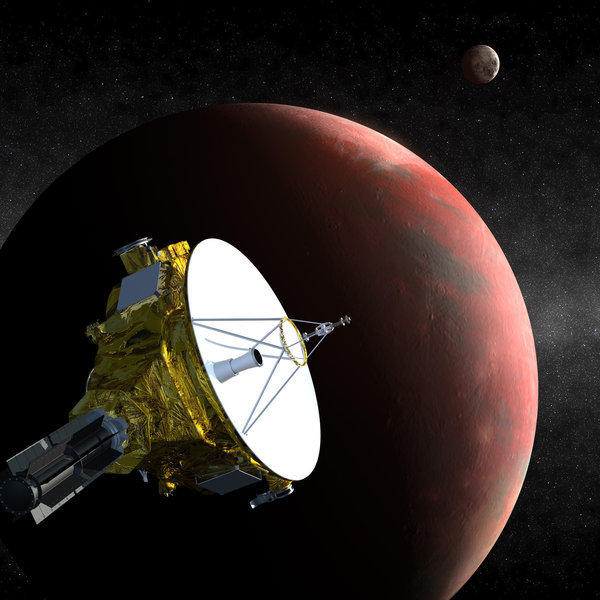 An artist's depiction of the New Horizons spacecraft approaching Pluto in July 2015. Moons and debris could damage the craft as it makes its journey, scientists said Tuesday.