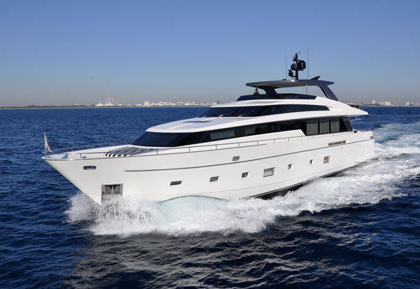 The 104 foot Sanlorenzo yacht, which will be on display at the upcoming Fort Lauderdale International Boat Show 2012 this October 25-29.