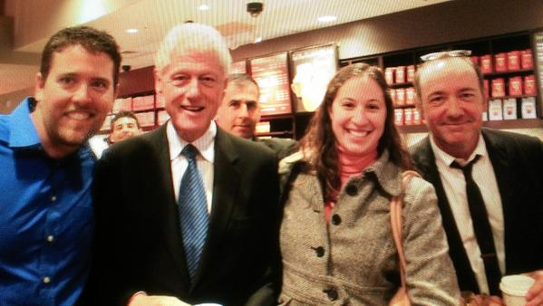 Craig White in the blue shirt, Bill Clinton second from left, White's fianc Alison Schlenger and Kevin Spacey.