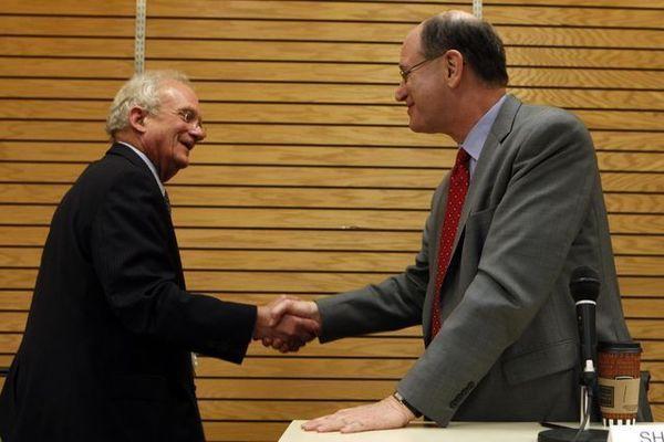 Rep. Brad Sherman and Rep. Howard Berman at a debate forum.