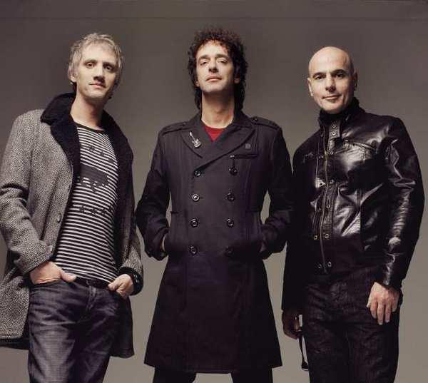 Drummer Charly Alberti, singer/guitarist Gustavo Cerati and bassist Zeta Bosio of Argentina's Soda Stereo.
