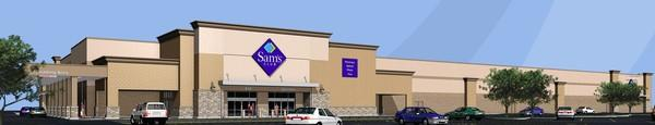 Rendering of the planned 128,144-square-foot Sam's Club store adjacent to a Walmart store near the 400 block of South Weber Road in Romeoville.