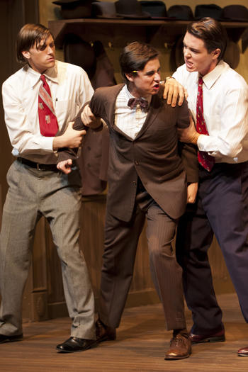 "From left to right:  Shaun Ausmus, Nick Slimmer and Brigham Hughes in the Golden West College production of ""Twelve Angry Men."""