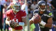 <strong>49ers QB Alex Smith vs. Seahawks QB Russell Wilson:</strong> This isn't that kind of matchup – mano-a-mano – but the play of the opposing quarterbacks definitely will impact the outcome in this battle of NFC West co-leaders. And they're coming at it during a short week to prepare for everything the opposing defenses can throw at them, and from opposite directions off their most-recent outings. Wilson had the best game of his rookie season, passing for two touchdowns in the final 7½ minutes as the Seahawks rallied for a one-point victory over the Patriots as the capper to his 16-of-27, 293-yard, three-TD effort. Smith, meanwhile, threw three interceptions in an eight-pass span and was sacked four times in what looked like a turn-back-the-clock outing in a 26-3 loss to the Giants. Can Wilson continue his rapid progression against the league's No. 1-ranked defense? Can Smith recapture his efficient touch that was vital to the 49ers going 13-3 last season and winning four of their first five games this season against the Seahawks' defense that is better than the one he beat twice last season?