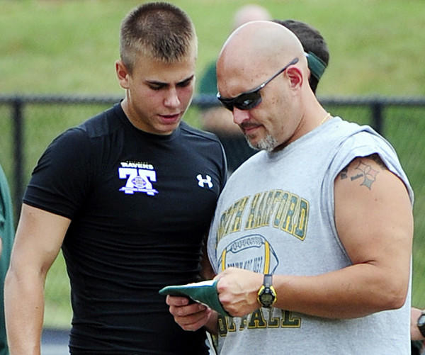 North Harford coach Ken Brinkman, right, talks over a play with quarterback Nick Hammer during the Air it Out 2012 football tournament at Bel Air High in July.