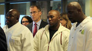 Five men who were cleared by DNA evidence after spending years in prison for the rape and murder of a 14-year-old Dixmoor girl filed lawsuits today in federal court accusing the police of coercing a confession from a teen with a low I.Q. and manufacturing other evidence.