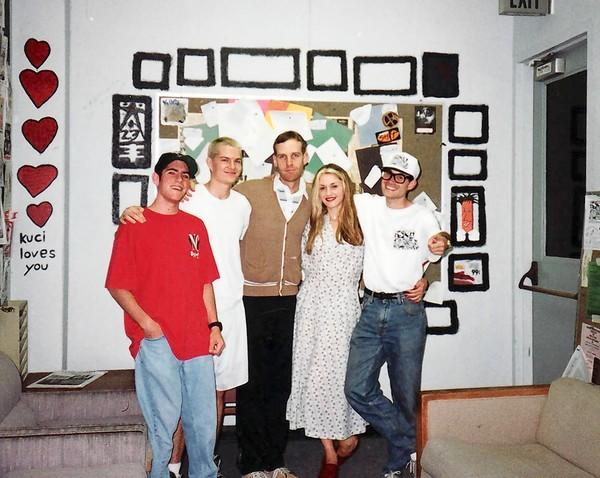 From left, Greg Raelson (Ska Parade intern), No Doubt's Adrian Young, Tom Dumont and Gwen Stefani, and Tazy Phyllipz in the lobby of KUCI in this 1994 photograph.
