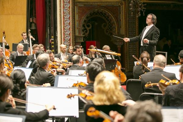 Riccardo Muti conducts the Chicago Symphony Orchestra during a show in Guanajuato, Mexico.