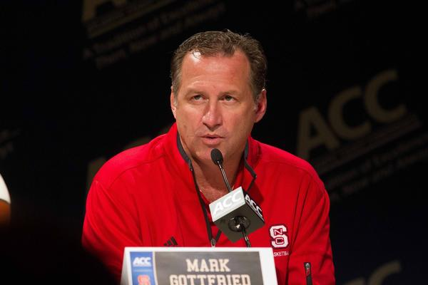 Oct 17, 2012; Charlotte, NC, USA;  North Carolina State Wolfpack head coach Mark Gottfried speaks to the media during the ACC media day held at the Ritz-Carlton.  Mandatory Credit: Jeremy Brevard-US PRESSWIRE