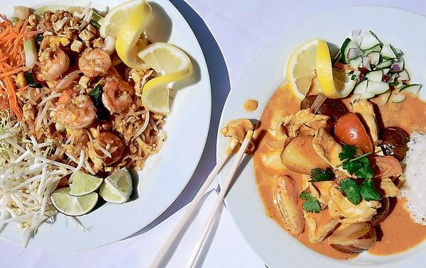 Pad Thai Noodles with shrimp, left, and Ga Rhee Gai, both photographed in 2006, are two of the most popular dishes served at Laguna Thai By the Sea.
