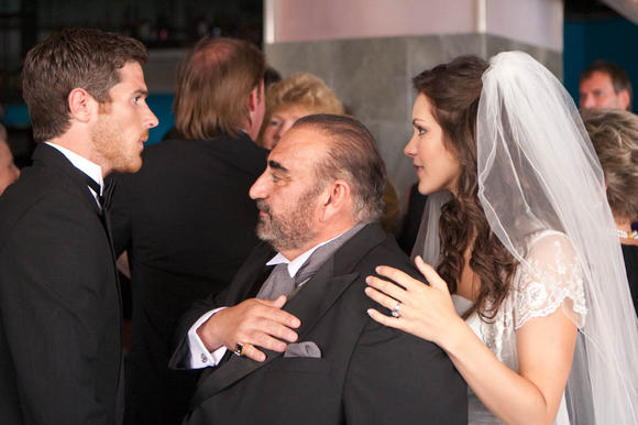 "Dave Annable, Ken Davitian and Katharine McPhee in a scene from ""You May Not Kiss the Bride."""