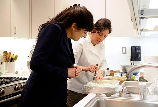 Gourmet magazine editor Ruth Reichl, left, with chef Maggie Ruggiero in April.