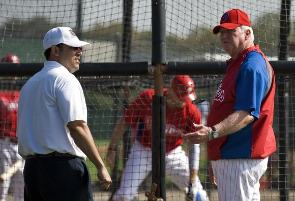 Philadelphia Phillies general manager Ruben Amaro (L) and manager Charlie Manuel (R) will have plenty of free agent options to look at this offseason.