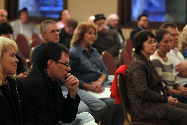 Citizens listen during a Winnebago County Concealed Carry Sub-Committee public hearing on a proposal to create a county concealed carry ordinance at the Veterans Memorial Hall auditorium in Rockford.