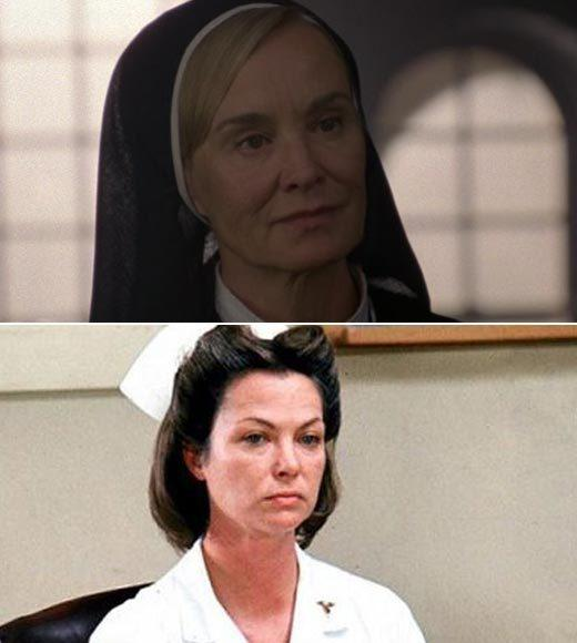 'American Horror Story's' movie homages from 'The Strangers' to Hannibal Lecter: Sister Jude totally equals Nurse Ratched at this insane asylum, though at least Sister Jude owns her evilness a bit. Nurse Ratcheds sugar-wouldnt-melt-in-my-mouth schtick was even scarier than Sister Jude just being twisted.