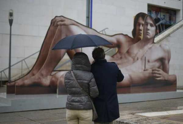 "An artwork titled ""Mr. Big"" by the Austrian artist Ilse Haider, on view outside of the Leopold Museum in Vienna. The museum is holding an exhibition dedicated to artistic depictions of male nudity, titled ""Nackte Manner"" (""Nude Men"")."