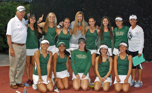 The Sage Hill School girls' tennis team captured the Academy League title outright after beating rival St. Margaret's on Wednesday.
