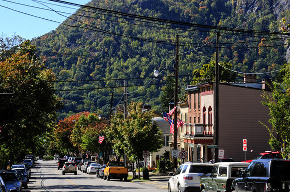Along Main Street in Cold Spring, New York, visitors have the majestic backdrop of the rugged Hudson River Valley landscape.