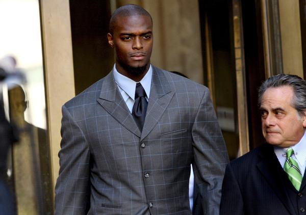 Plaxico Burress in 2009 after a court appearance in the gun possession charge.
