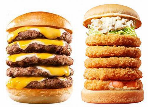 For its 40th anniversary, Japanese burger chain Lotteria sold two burger towers - one a minaret made of cheeseburger and the other a high-rise fried shrimp burger.