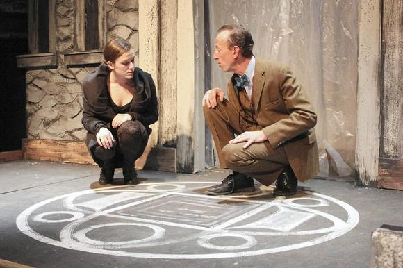 Casey Cunningham (Elaine Rider) and Steve Herson (Kavanagh) in WildClaw Theatre's production.