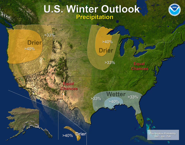 NOAA forecasters are predicting equal chances of above- and below-average snowfall in Maryland. The norm is about 21 inches in Baltimore.