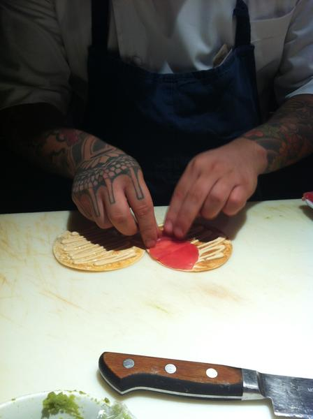 BONDST Executive Chef Andy Choi making the Tuna Tarts