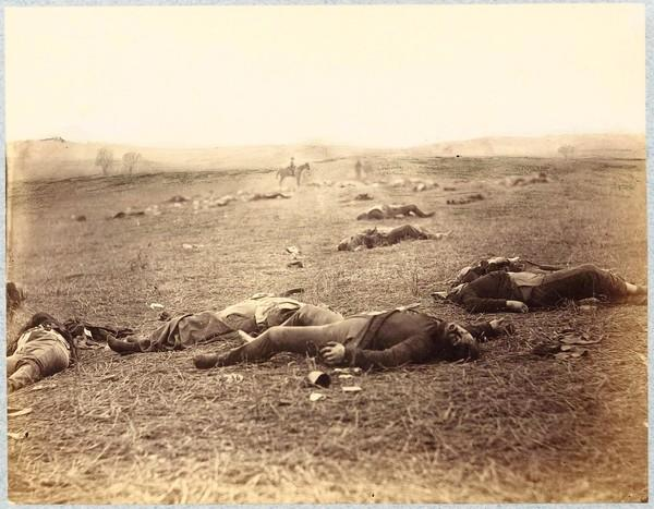 Timothy H. O'Sullivan (ca. 1840-82), photographer; printed by Alexander Gardner, A Harvest of Death, Gettysburg, July 4, 1863.