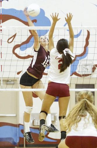 Laguna Beach outside hitter Sabrina Stillwell earns a kill during Tuesday's match against Estancia.