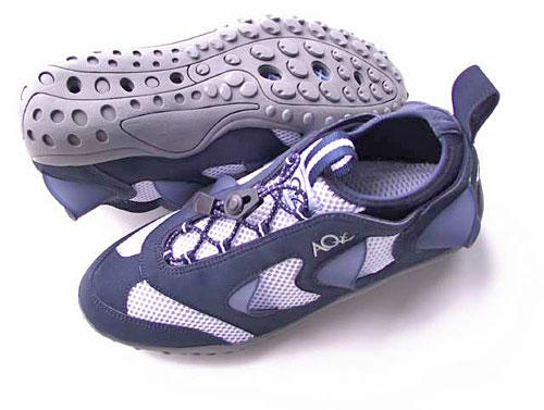"""<b>With a little resistance<br> <br> </b><strong>AQx Aquatic Training Shoe:</strong> Innovative water shoe with a breakthrough technology: built-in resistance scoops.<br> <br> <strong>Likes: </strong>Provides a significantly tougher workout and greater calorie burn than the other tested  shoes; particularly works the hamstrings and glutes. The """"gills"""" — six 1- to 1½-inch plastic scoops (three on each side of the shoe) — catch water and provide noticeable resistance (20% to 30% more than regular shoes, according to AQx) as your foot lifts toward your butt after push-off. Effective way to strengthen the leg-lift portion of your stride; works when running in place, so OK for small pools or deep hot tubs. There is no resistance when the foot moves forward, which AQx says helps protect the knee. A thin, highly flexible sole gives the shoe a tactile, sock-like feel that works the entire foot, much like barefoot running. The all-neoprene lining makes it the most comfortable of all the shoes tested. The quick-cinch lacing system works fast and won't come undone. Includes mesh bag and DVD.<br> <br> <strong>Dislikes: </strong>Doesn't dry quickly, because of all-neoprene lining.<br> <br> <strong>Price: </strong>$79.95. (800) 203-1276; <a href=""""http://www.aqxsports.com"""" target=""""_blank"""">www.aqxsports.com</a>."""