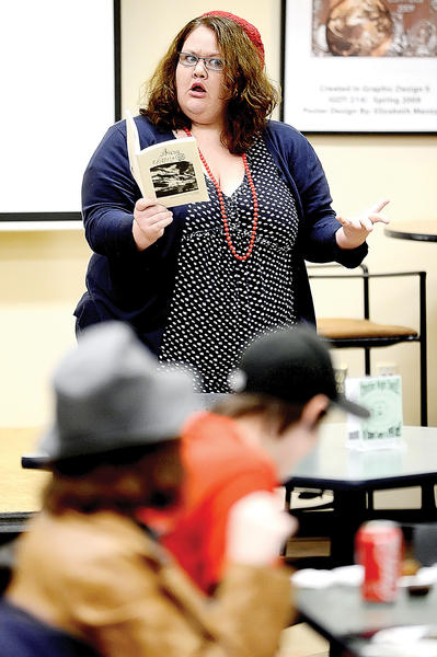 """Hagerstown Community College student Francesca Giustini read her poem """"Sheen Heard Some Voices"""" Thursday night during the Hedge Apple launch party at the HCC Student Center."""