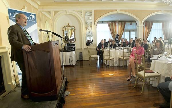 Joel Ario, former Pennsylvania Insurance Commissioner and managing director of Manatt Health Solutions, speaks at the chamber's annual Health Summit at the Saucon Valley Country Club on Thursday.