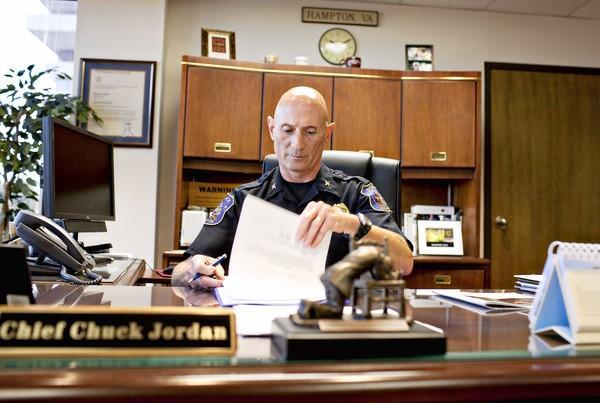 Jordan took over the top law enforcement job in Hampton when he was named acting chief Jan. 1, 2004.
