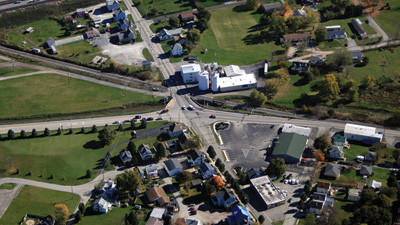 This aerial photograph taken by Roger W. Snyder shows the railroad crossing on Stoystown Road in Somerset.