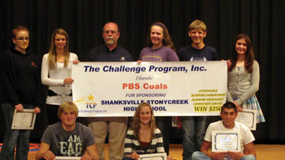 Students at Shanksville-Stonycreek High School were awarded checks of $250 each from The Challenge Program for their performance last year. Seated from left are: Connor Fleegle (junior academic improvement), Courtney Dively (junior attendance), and Nathan Gardner (junior community service). Back row: Sarah Brick (sophomore attendance), Amanda Struky (junior academic excellence), Hank Parke with sponsor PBS Coals, Rebecca Sheriff (sophomore community service), Cody Lenart (sophomore academic improvement), and Katherine Duppstadt (sophomore academic excellence).