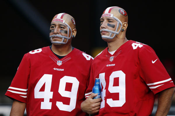 Fans of the San Francisco 49ers watch the game against the Seattle Seahawks on October 18, 2012 at Candlestick Park in San Francisco, California.