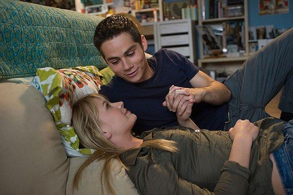 "Dylan O'Brien as Dave Hodgman and Britt Robertson as Aubrey Miller in ""The First Time."""