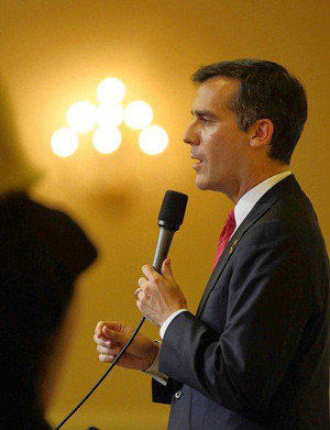 Councilman Eric Garcetti speaks at a debate last month.