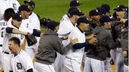 DETROIT (AP) — Phil Coke stormed into Jim Leyland's office and sprayed the veteran manager with some of Detroit's celebratory bubbly.