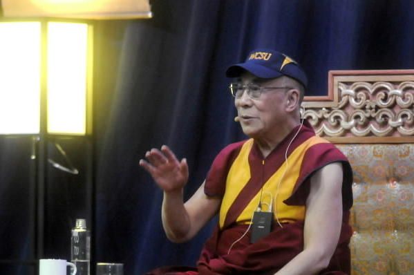 "His Holiness the Dalai Lama answers video taped questions from WCSU students after giving a talk on ""The Art of Compassion"" to a sold-out crowd at the O'Neill Center at Western Connecticut State University Thursday afternoon."