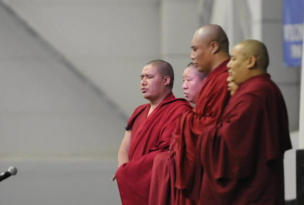 Buddhist monks chant before His Holiness the Dalai Lama spoke to a sold-out crowd at the O'Neill Center at Western Connecticut State University Thursday afternoon.