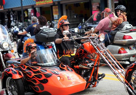 Bikers cruise along Main Street in Daytona Beach on October 18, 2012. Biketoberfest runs Oct 18-21.