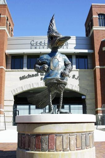Sculptor Matthew Placzek, who created this sculpture of Billy Bluejay for Creighton University in Omaha, will make a Chaparral statue for College of DuPage.