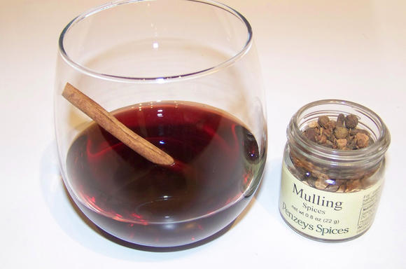 Mulled wine, seen here, can be made with a mix of spices to taste, or by using a pre-made spice mixture.