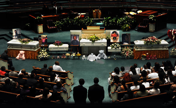 The funeral for five members of the Worrell family who perished in a fire was held at Mount Pleasant Church and Ministries.