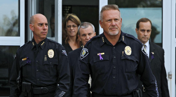 Westminster, Colo., Police Chief Lee Birk leads officials to a news conference last week where he announced that a body found in Arvada, Calif., was that of 10-year-old Jessica Ridgeway.