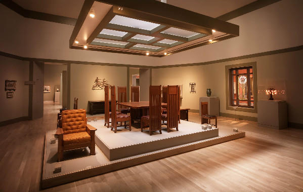 A view of furniture designed by Frank Lloyd Wright and recently acquired by the Huntington.