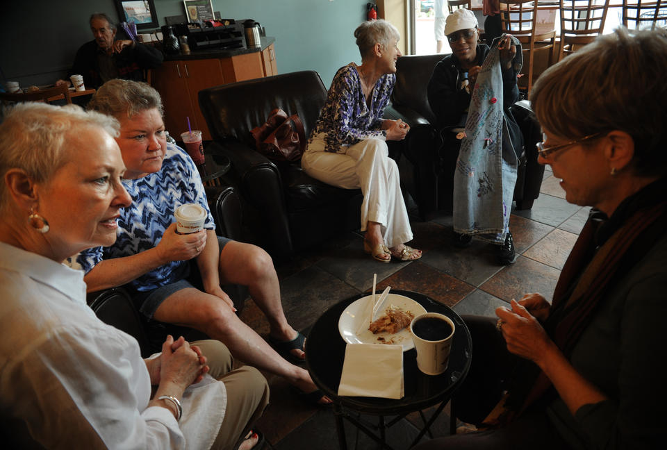 """Conversing from left: Gretchen Carlquist; Sally Ring; Dian """"CJ"""" Corneliussen-James; Cecilia """"CC"""" Curry; and Kay Campbell at a Metavivor support meeting at Zu Coffee."""
