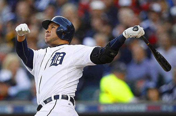 Detroit shortstop Jhonny Peralta belts out a homerun in Game 4 of the ALCS. The Tigers completed the sweep and advance to the World Series.