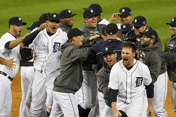 The Detroit Tigers win their second pennant in seven years by beating the New York Yankees 8-1 on Oct. 18 for a four-game sweep of the AL championship series.